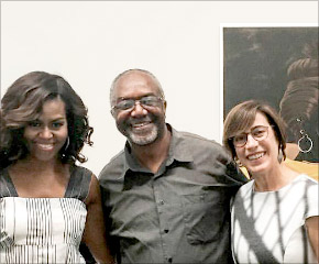 Kerry James Marshall con Michelle Obama